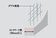 鉄筋を覆うコンクリートのかぶり厚を、建築基準法で定められた数値より設計上最低10mm厚くし、住宅性能表示制度の劣化対策等級3を取得。