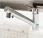 殺菌セラミックや繊維状活性炭で水を浄水。シャワーや浄水などの4つの機能をレバー操作できます。