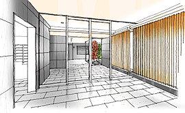 格調高いエントランスホールは、重厚感あるタイル壁や、木目調のルーバーと間接照明がアクセントとなり、凛とした気品と自然の安らぎが心地よく調和した迎賓の空間。