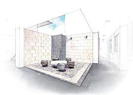 さらに奥へ進むとオブジェのようにデザイン性あるスツールやテーブルをランダムに配したプライベート空間が広がります。