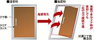 玄関ドアとドア枠との間に、クリアランス(すき間)を設け、万一の時の避難に配慮した対震枠を採用しています。
