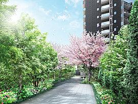 ゲートから建物のメインエントランスの間には、約34mものロングアプローチを設けました。前面道路から距離を置くことで、閑静でゆとりある暮らしを実現。美しい緑を見ながらのんびりと歩くひとときが、我が家へと帰るよろこびを高めます。