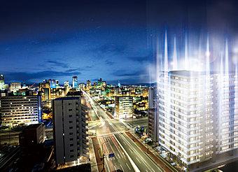 杜の都、仙台。都市、公園、未来を結ぶメインストリートで生きていく。外観完成予想図。