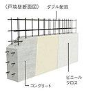 隣り合う住戸間を区切る戸境壁は、強度とプライバシーが保たれる様に、180mm~250mmのコンクリート壁としています。