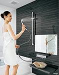 壁面はすべて、汚れに強くお手入れがカンタンな清潔素材、「高品位ホーロー」を使用した「ホーロークリーン浴室パネル」。