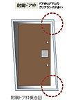 万一の地震の際に玄関のドア枠が多少変形してもドアが 開くよう、ドアとドア枠の間に変形に対応できるようすき間を設けています。