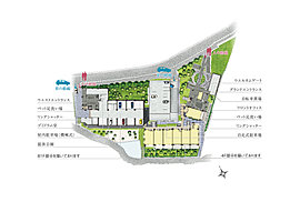 5,800m2超の広い敷地に総140邸、4つの住棟をゆったり配置し、自走式駐車場も設置。明るく開放的な住まいづくりをめざして、南向き住戸率85%を実現しています。ゆとりある空地には、迎賓のアプローチ空間としてウエルカムゲートを設け、自走式駐車場の出入口とは動線を分離。