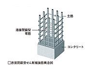 溶接による安定した強度の確保によって、地震時の主筋のはらみ出しを抑制して、柱の拘束力を高めます(一部除く)