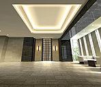 都市の賑わいから、くつろぎの私邸へ。アプローチから歩を進めると気品溢れる折上天井とダウンライトの暖かな光に包まれる珠玉の安らぎ空間。ホテルのフロントのような迎賓の間がお住まいの方をやさしく迎えます。