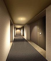 ラグジュアリーな暮らしを演出。ホテルライクな内部共用廊下。エレベーターを降りると住戸までは、内部共用廊下になっています。風雨にさらされない穏やかで気品あふれる空間で、ホテルライクなステイタスを醸します。