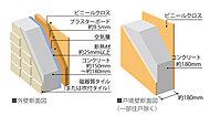 外壁はコンクリート厚約150~180mm、隣戸間への音漏れに配慮して、隣戸間の生活騒音を軽減します。