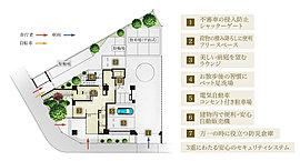 """""""角地の特性""""を活かすランドスケープデザイン。敷地間口の豊かさを伝える、水平ラインを強調し、12階建てのボリュームに対比するデザインの創出。"""