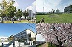 左上から時計回り:におどり公園(約840m・徒歩11分)、三郷中央4号公園(約450m・徒歩6分)、桜のプロムナード(約80m・徒歩1分)、新和小学校(約460m・徒歩6分)