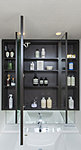 三面鏡の裏側は、お化粧品や衛生用品などこまごましたアイテムを整理できる収納スペース。