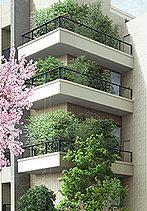 設計思想を映すグリーンギャラリー。街並みと調和し、道往く人の目を引くグリーンギャラリーは、建物と一体となったデザインと多彩な樹種で構成。住まう歓びを届けてくれる、建物のアイデンティティです。