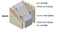 住戸と住戸を仕切る戸境壁には、厚さ180mm以上のコンクリート壁を採用。優れた遮音性を発揮します。