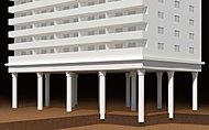 基礎構造は地盤の固い支持層まで杭を打ち込み建物をしっかりと支える杭構造を採用。※参考イメージ図(実際とは異なります)