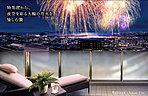 バルコニー完成予想図/バルコニー写真に現地15階相当から撮影した眺望写真と花火(イメージ)をCG合成したもので、実際とは異なります。