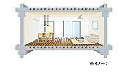 梁のある従来の工法に比べて、小梁の少ない開放感のある住空間を実現しています。