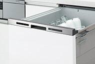食器の出し入れがしやすいフルオープン型。一度に約5人分の食器を洗える容積で、低運転音の仕様です。