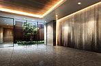 エントランスを抜けて一歩足を踏み入れると、深い落ち着きに満ちたエントランスホールが広がります。建物内に採光をもたらす吹抜や豊かな植栽のほか、日々の快適性や安全性への備えなども敷地内の随所にしつらえました。