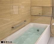 少ない水量でもゆったりと感じられる形を追求した浴槽で、節水とくつろぎを両立します。