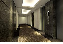 一般のマンションでは外側に設けられる共用廊下を建物内廊下に設置。