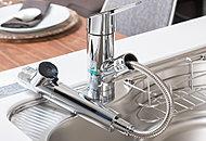 ボタン1つで浄水へ切り替えが可能で、ヘッドが引き出せるハンドシャワータイプの混合水栓です。