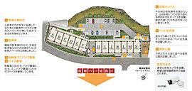 ※掲載の敷地配置図イメージイラストは計画段階の図面を基に、敷地配置図に西棟2階平面図・東棟1階平面図を合成し、詳細を省略し描き起こしたもので一部実際とは異なる部分がございます。予めご了承ください。
