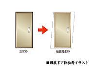 万一の地震の際に家の中への閉じ込めを防ぐために、ドア枠には耐震ドア枠を採用。