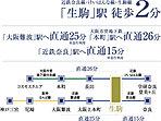 近鉄「生駒」駅は特急・快速急行停車駅。都心の「本町」や「難波」に一直線。更には「奈良」や「神戸三宮」へも繋がり、関西の各方面へのスムーズアクセスが可能。