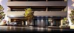 街並の風景として、道ゆく人の視界にも映りやすいアプローチの壁には、黒御影石を採用。重厚さの中に邸宅の領域感を主張しています。また、2階以上のバルコニー外壁には、45二丁掛けタイルをベースにボーダータイルにより端正なアクセントラインを表現。