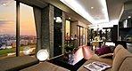 Living Dining(CP120-Mタイプ・2015年1月撮影) ※現地28階相当の眺望(2014年10月撮影)を合成したものです