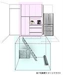 キッチンの床から階段で降りると、そこには広々とした「床下収納庫」があります。※一階住戸