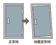 地震の際、ドア枠の変形により住戸内に閉じ込められないよう、変形対応するドア枠を採用。避難路を確保し、安全性を高めます。