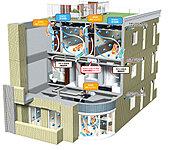 炭を全洋室の天井裏に敷き詰め、天井内の「済チャンパー」で「天然済」の層を通して浄化されたクリーンな空気を各部屋内に送り込みます。
