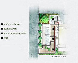 伝統的な京町家をモチーフにした、ランドプラン。奥行きのある敷地に建つ「京町家」の発想を取り入れ、共用スペースをプランニングしました。細い通路とそれを結ぶ庭で、住まう方、訪れる方の心を和ませる「和の居心地」を演出しています。
