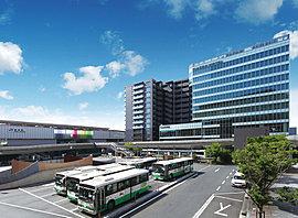 奈良駅西口から徒歩1分の地に、カーテンウォール外壁のモダンなホテル「ピアッツァホテル」、そしてその関連商業施設との一体プロジェクトで誕生する集合邸宅「ピアッツァコート奈良駅前」。