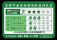 京都市が定める建築物の環境評価基準「CASBEE京都」において総合評価「B+」を獲得。