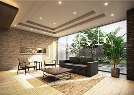 寛ぎに満ちた空気感で、人を迎えるエントランスホール。落ち着いた佇まいのエントランスホール。風情ある「迎賓の庭」を借景とした、ホテルのロビーを思わせる迎賓スペースです。