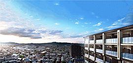 ※掲載の眺望写真は現地13階相当(平成28年3月)から撮影したものに外観完成予想図をCG合成したもので実際の位置・スケール等異なります。