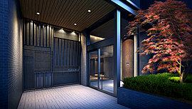 和の趣きを醸し出し、日本的な静けさへと導くための仕掛けにも心を配りました。私邸の領域へとつながるエントランスには、フロアに市松柄に貼り分けたタイルを使用。江戸の伝統的な模様を施すことで、この地に相応しい美意識を投影しました。