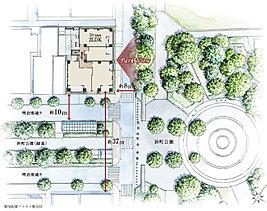 潤いと躍動が交差する贅なる地にて。都営新宿線「浜町」駅から地上に出れば、そこはすでに緑の懐。目の前には、広大な「浜町公園」の正面入口が控え、明治座通りの並木が連なる。公園徒歩1分、駅へも徒歩1分。