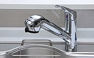シンクのお手入れなどに役立つハンドシャワー機能付の混合水栓。ストレート、シャワーに加えて、節水効果が高い「エコシャワー」にも切り替え可能。