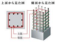 鉄筋コンクリートの主筋に垂直に巻く帯筋は、継ぎ目を特殊な溶接を施した溶接閉鎖型フープを採用。