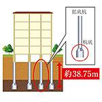 杭の底部分を約1.4~3.2mに広げた拡底杭で地盤にしっかり根入れし、地盤と基礎、建物を強固につなぎ止めます。