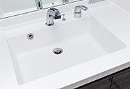 カウンタートップと一体成形の洗面ボウルは、つなぎ目がありませんので見た目にも美しく、お掃除も簡単です。
