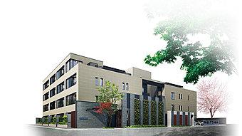武蔵野台地の高台、第1種低層住居専用地域に立地(外観完成予想図)
