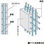 壁面の鉄筋を格子状に組み上げる工程で、鉄筋を二重に組むダブル配筋を標準として施工しています。