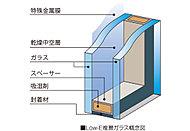 住戸内の開口部には、ガラスの中空層側に特殊金属膜(Low-E膜)をコーティングした「Low-E複層ガラス」を採用。